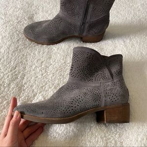 Ugg Grey Leather Ankle Boots Bootie Size 8.5-9